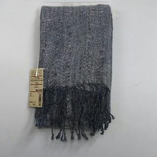 ムジルシリョウヒン(MUJI (無印良品))の新品 無印良品 フレンチリネン ヘリンボーンストール・ネイビー(ストール/パシュミナ)