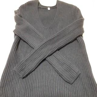 ムジルシリョウヒン(MUJI (無印良品))の美品 一回のみ着用 無印良品 ざっくりセーター 綿100% ネイビー Sサイズ(ニット/セーター)