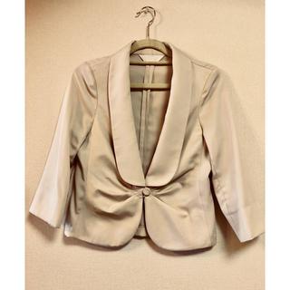 スーナウーナ(SunaUna)のスーナウーナ 夏用ひとつボタン 七分袖ジャケット ベージュホワイト(テーラードジャケット)