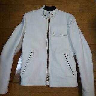バンソン(VANSON)のVanson バンソン シングルライダース ジャケット B (34)白色 美品(ライダースジャケット)