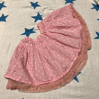 ジーユー(GU)のgu☆ドット柄スカート☆ピンク☆120(スカート)