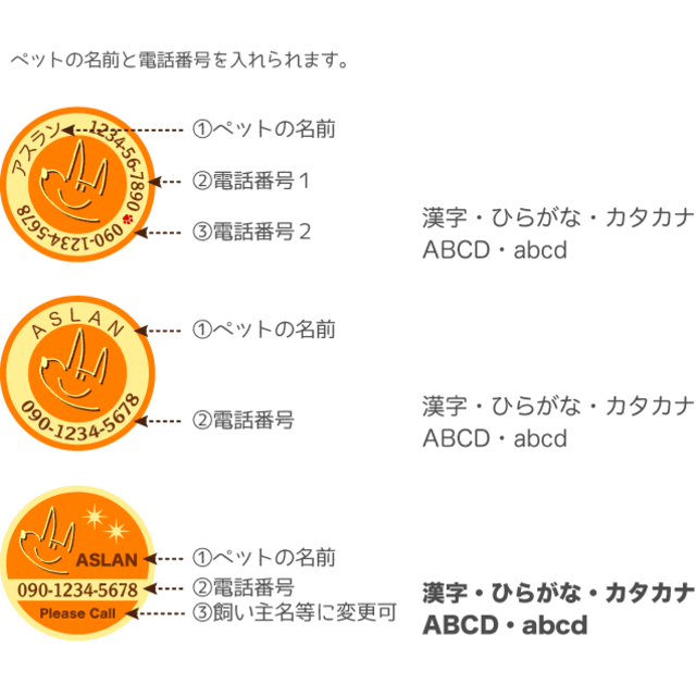 犬 ペット 迷子札(オレンジ)S その他のペット用品(犬)の商品写真