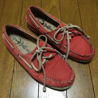 ジェフリーキャンベル(JEFFREY CAMPBELL)のカリフォルニア ジェフリーキャンベル レザーデッキシューズ オレンジ 24cm(ローファー/革靴)