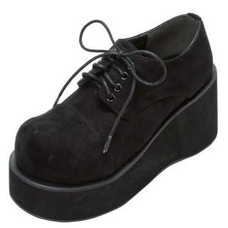 ユメテンボウ(夢展望)の厚底レースアップおでこ靴・新品・黒・24(ローファー/革靴)