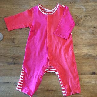 ワコール(Wacoal)の赤とピンク ボーダーロンパース70(ロンパース)