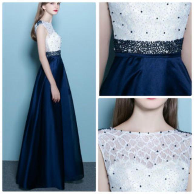 2a2c03fc81683 カラードレス 結婚式 ロング 青 ロングドレス ウェディングドレス レディースのフォーマル ドレス(