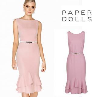 リプシー(Lipsy)のPaper Dolls◇ぺプラム ベルト付ワンピース ドレス ピンク(ひざ丈ワンピース)