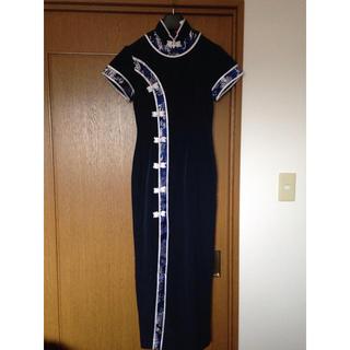 一度着用 美品 チャイナドレス 紺 ネイビー 白 32 Sサイズ 7号 ドレス(その他ドレス)