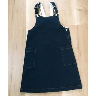 ジーユー(GU)のGU 女の子 ストレッチデニムジャンパースカート 140(スカート)