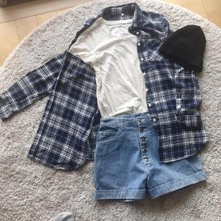 ムジルシリョウヒン(MUJI (無印良品))の無印良品コットンシャツ、GAP Tシャツ、デニム 短パン、ニット帽 4点セット(セット/コーデ)