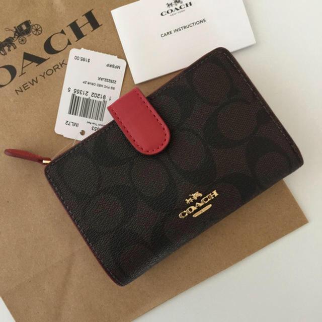 promo code 428ac aa6c8 COACH コーチ 二つ折り財布 シグネチャー レッド 赤 折り財布