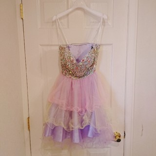 エンジェルアール(AngelR)の高級ドレス AngelR シフォンチュールビジュードレス パープル キャバ嬢(ナイトドレス)