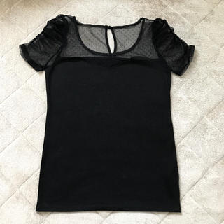 ロイヤルパーティー(ROYAL PARTY)の《最終値下げ》チュール ドット 水玉 黒 カットソー Tシャツ(カットソー(半袖/袖なし))