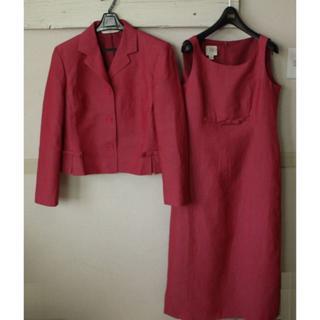 ローラアシュレイ(LAURA ASHLEY)のS401★ローラアシュレイ スーツ ワンピース13 11 ピンク 麻(スーツ)