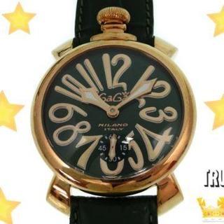 ガガミラノ(GaGa MILANO)の新品同様 ガガミラノ マヌアーレ48mm 5011 手巻き 腕時計 グリーン(ラバーベルト)
