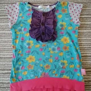 シマムラ(しまむら)の女児110㎝半袖カットソー♡胸元フリル(Tシャツ/カットソー)