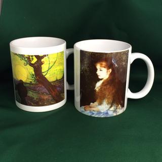 ルノワール 可愛いイレーヌ、ゴッホ 日没を背に種まく人 マグカップ2個セット(グラス/カップ)