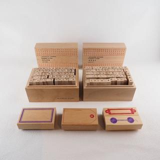 木製ゴムスタンプ カタカナ・ひらがな・タグ風フレーム はんこ(印鑑/スタンプ/朱肉)