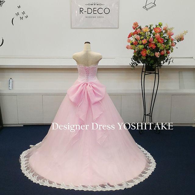 ウエディングドレス ライトピンク 披露宴 レディースのフォーマル/ドレス(ウェディングドレス)の商品写真