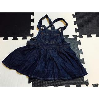 【美品】puppet house/デニムジャンパースカート/ワンピース/90(ワンピース)