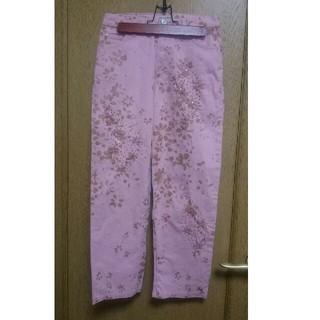 アンナモリナーリ(ANNA MOLINARI)の美品♡アンナモリナーリ デニム パンツ M 9号 ピンク 花柄 ビジュー (デニム/ジーンズ)