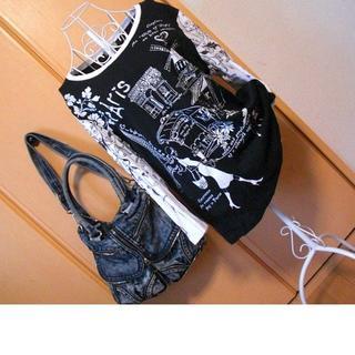 カクタス(CACTUS)のcactus バイカラー 黒 白 アメリカ製 英字 プリント デザイン 7分袖(Tシャツ(長袖/七分))