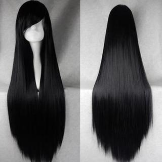 ウィッグ ブラック  ストレート 100cm ネット付き 黒髪(ウィッグ)
