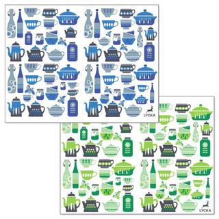 LYCKAオリジナル転写紙 「kitchen」2枚セット(青.緑)(各種パーツ)