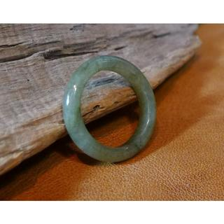 J378 ヒスイ翡翠リング指輪 10号 ジェイド きれいなモスグリーン 送料無料(リング(指輪))