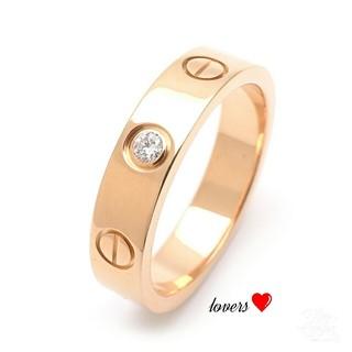 送料無料 19号 ピンクゴールドサージカルステンレススーパーCZ ラブリング指輪(リング(指輪))