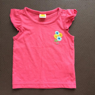 ムージョンジョン(mou jon jon)のムージョンジョン 花刺繍入り 袖フリル Tシャツ(Tシャツ)