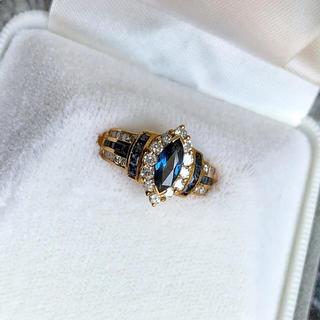 天然サファイア リング 指輪 ダイヤモンド K18 ゴールド 鑑定書付き(リング(指輪))