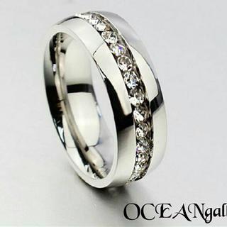 送料無料 シルバーサージカルステンレススーパーczダイヤフルエタニティリング指輪(リング(指輪))