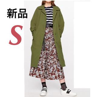 ジーユー(GU)の新品♡未開封 Sサイズ GU ステンカラーロングコート カーキ(スプリングコート)