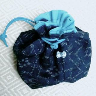巾着 青の陶器パーツ(ポーチ)
