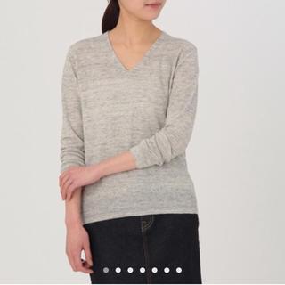 ムジルシリョウヒン(MUJI (無印良品))の無印 フレンチリネン Vネック セーター ライトグレー(ニット/セーター)