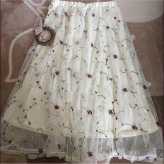 シマムラ(しまむら)のチュール刺繍ベルト付きスカート(ロングスカート)