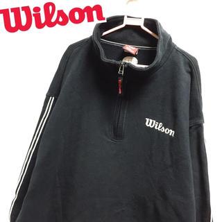 Wilson★ハーフZIP ロゴ刺繍 スウェット 袖裾ライン ヒットユニオン