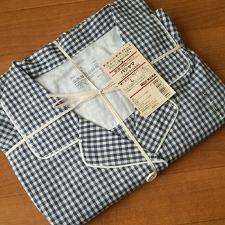 ムジルシリョウヒン(MUJI (無印良品))の◆新品◆無印良品脇に縫い目のないブロードパジャマ/ネイビー×チェック/L(パジャマ)