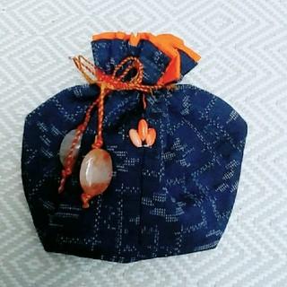 和柄巾着 アゲート麻紐オレンジ(ポーチ)