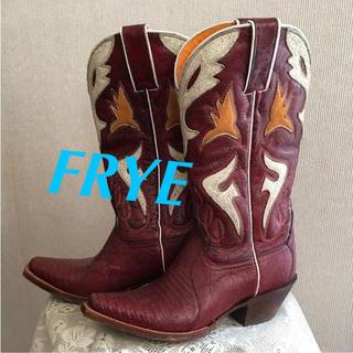 フライ(FRYE)のFRYE ウエスタン ブーツ NY購入 レア 美品 ワインレッド B5(ブーツ)