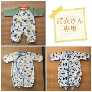 シマムラ(しまむら)の50〜70cmロンパース♪新生児、ベビー服、足元2パターン、ペンギン柄、ブルー(ロンパース)