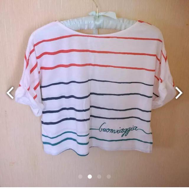 mysty woman(ミスティウーマン)の【mysty woman】手書きボーダー風Tシャツ レディースのトップス(Tシャツ(半袖/袖なし))の商品写真