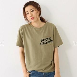 ロデオクラウンズワイドボウル(RODEO CROWNS WIDE BOWL)の交渉中 ポケットロゴTシャツ カーキ フリーサイズ(Tシャツ(半袖/袖なし))