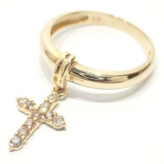 E73 K18 YG ダイヤモンド 指輪 リング 7号 1.6g 0.15ct(リング(指輪))