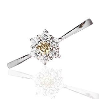 【鑑別書付】 0.05ct天然ダイヤモンド フラワーデザインリング K18GP(リング(指輪))