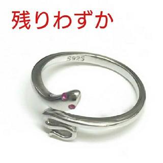 (219) 白蛇弁財天赤目付き 金運 フリーサイズ リング  (リング(指輪))