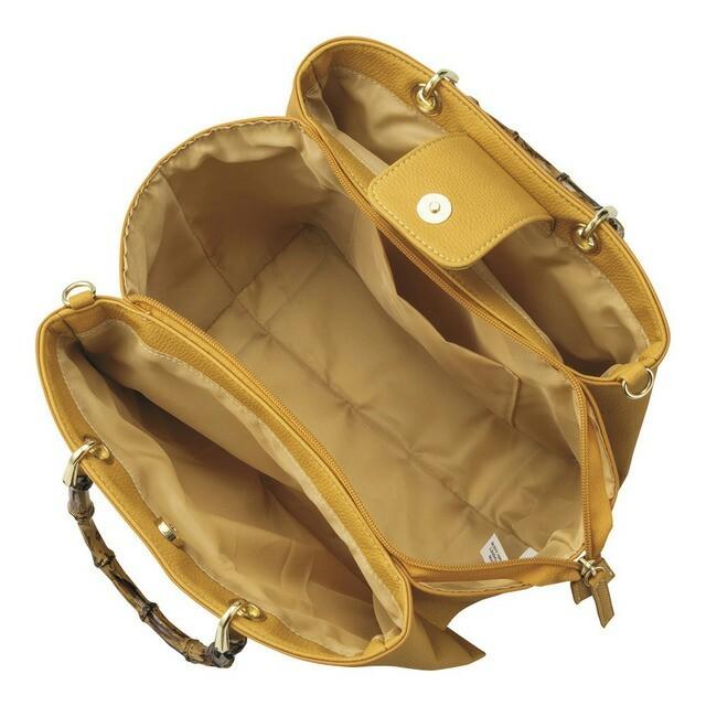 GU(ジーユー)のGU フェイクバンブー ハンドルバッグ イエロー完売品 レディースのバッグ(ショルダーバッグ)の商品写真