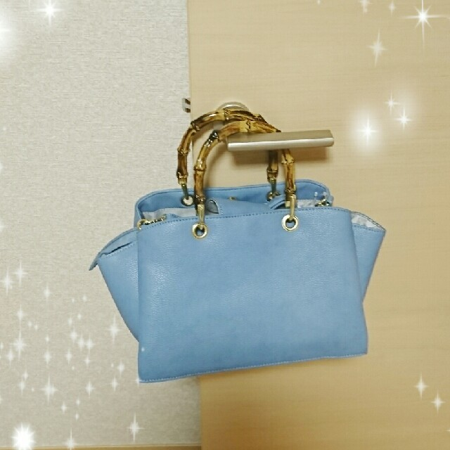 GU(ジーユー)のGU フェイクバンブーハンドルバッグ ブルー完売品⭐ レディースのバッグ(ショルダーバッグ)の商品写真