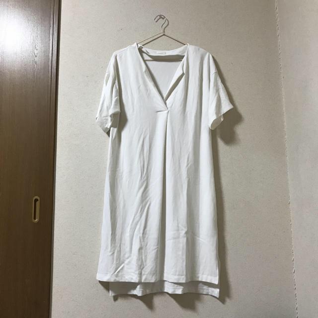 71e0773382af7 GU - GU 半袖ロングTシャツ ワンピース 白の通販 by Ry you s shop ...